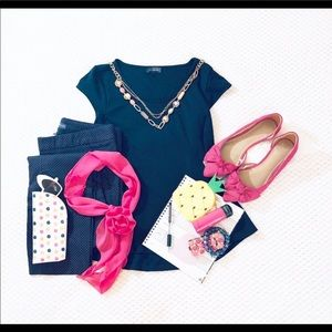 The Limited Navy Peplum Top